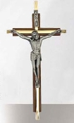"7"" Walnut/Brass Crucifix with Pewter Figure"
