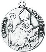 Sterling Silver St. Timothy Medal